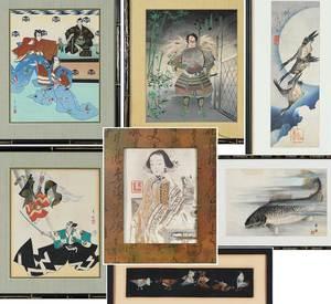 Seven Framed Asian Prints