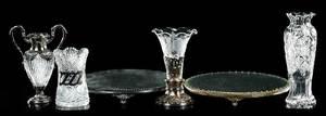 Cut Glass Vases, Spooner, Plateaus