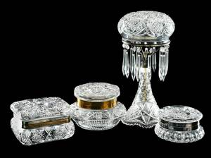 Four Pieces Cut Glass: Monroe, Pairpoint