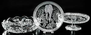 Three Pieces Cut Glass: Hawkes, Libbey