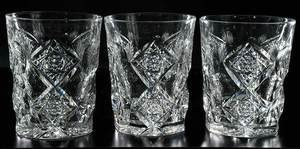 Cut Glass Hawkes Pitcher, Four Tumblers, Bowl