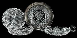 Four Cut Glass Table Items, Libbey, Fry