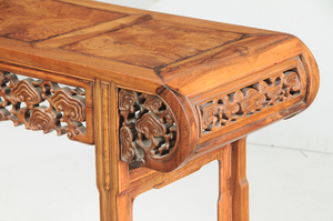 Pair Carved Rosewood and Burlwood Side Tables