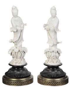 Pair Blanc de Chine Figures of Guanyin