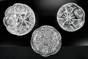 Three Cut Glass Bowls