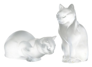 Two Lalique Crystal Cats