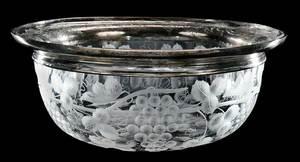 Sinclaire Cut Glass Bowl, Sterling Rim