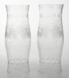 Pair Etched Glass Hurricane Shades