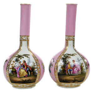 Pair Augustus Rex Style Hand Painted Vases