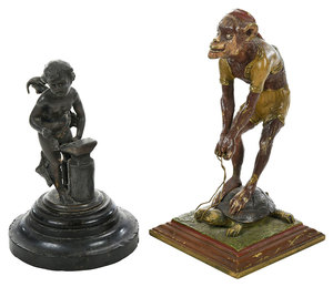 Two Bronze Figures, One Cold Painted