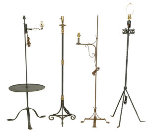 Four Vintage Wrought Iron Floor Lamps