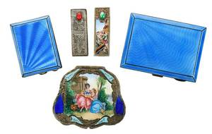 Five Silver Enameled Cosmetic Cases