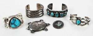 Six Pieces Silver Southwestern Bracelets