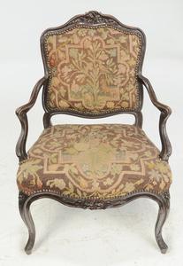 Pair Louis XV Open Arm Chairs