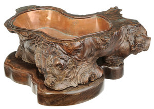 Asian Root Form and Copper Lined Planter
