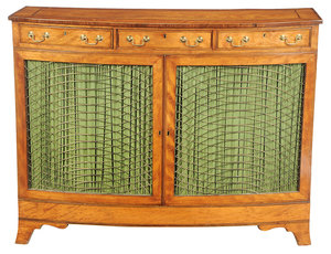 Fine Georgian Satinwood and Grille Door Cabinet