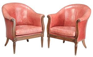 Pair Regency Style Mahogany Club Chairs