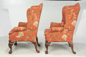 Pair Chippendale Style Mahogany Easy Chairs