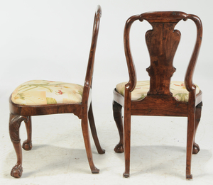 Set of Four George I Carved Walnut Side Chairs