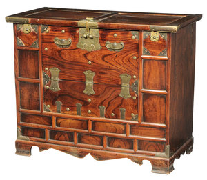 Asian Figured Wood and Brass Mounted Chest