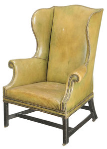 Chippendale Leather Upholstered Easy Chair
