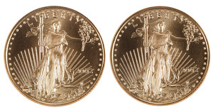 Two 1/10 Ounce Gold Eagle $10 Coins