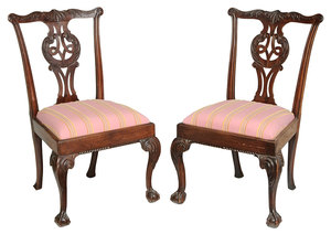 Pair George II Carved Mahogany Side Chairs