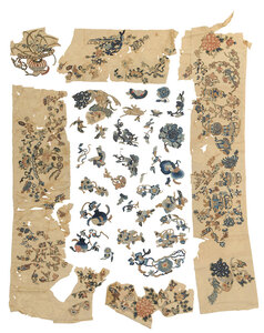 Group Chinese Silk Textile Fragments