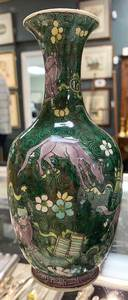 Chinese Famille Verte Kangxi Biscuit Vase