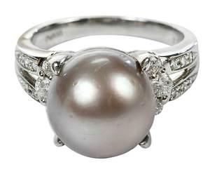 Platinum, Pearl & Diamond Ring