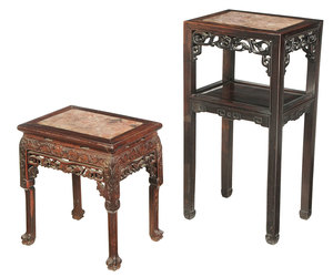 Two Chinese Carved Hardwood And Inset Taborets