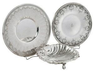 Two Sterling Plates and Shell Dish