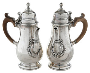 Two English Silver Side Handle Pots