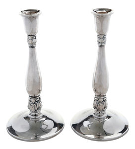 Pair Royal Danish Sterling Candlesticks