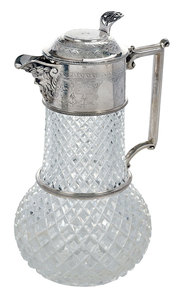 Cut Glass and Silver-Plate Pitcher