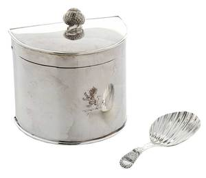 English Tea Cannister and Caddy Spoon