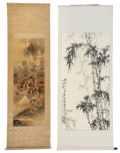 Two Asian Hand-Painted Scrolls