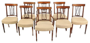 Set Eight Hepplewhite Style Inlaid Dining Chairs