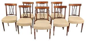 Set Eight Hepplewhite Style Inlaid Dining Chairs