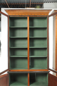 Pair Regency Style Inlaid Bookcase Cabinets