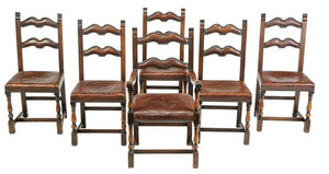 Set Six Welsh Style Leather Upholstered Chairs