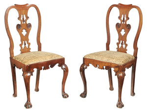 Pair George II Style Carved Walnut Side Chairs
