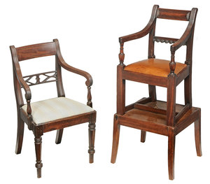 Two Regency Carved and Inlaid Child's Chairs