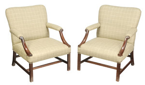 Pair George III Style Upholstered Library Chairs