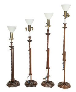 Four Ratcheted Floor Lamps