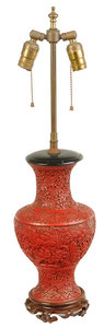 Lamp Mounted Chinese Carved Cinnabar Vase