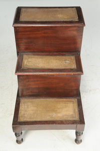 Regency Mahogany and Leather Mounted Bed Steps