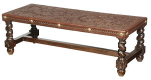 William and Mary Style Tooled Leather Low Table