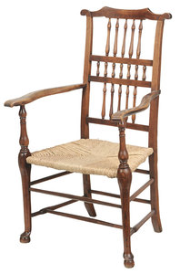 Lancashire Spindle Back Rush Seat Armchair