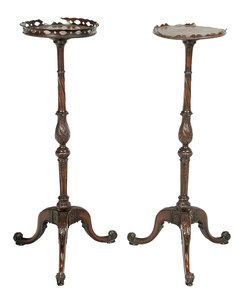 Pair Chippendale Style Carved Mahogany Stands